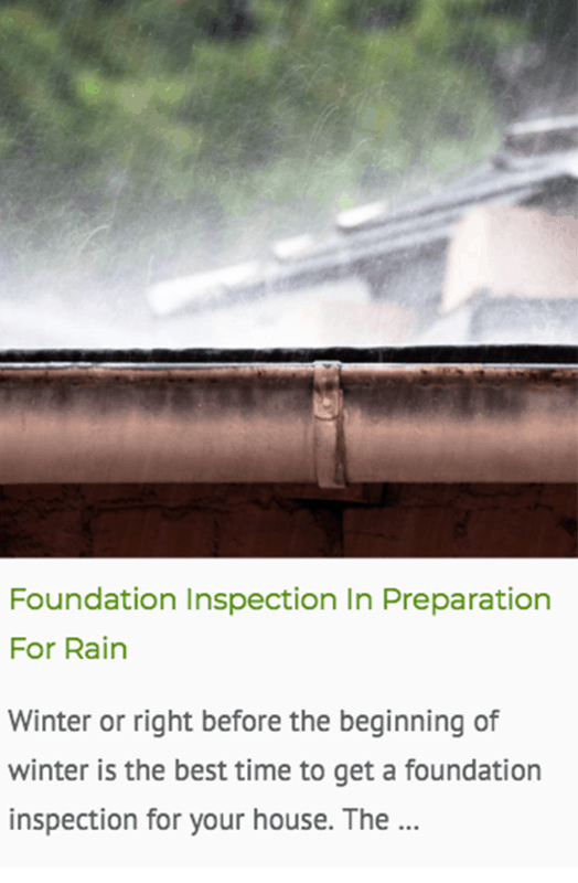 Foundation inspection in rainy time blog post